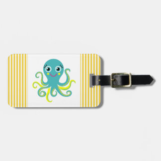 Blue and Yellow Octopus Bag Tag