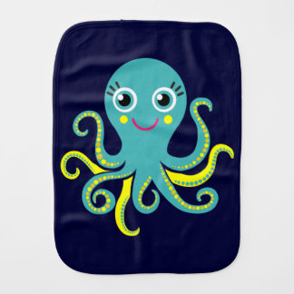 Blue and Yellow Octopus Burp Cloth