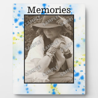 Blue and Yellow Paint splatter Your Photo/Text Plaque