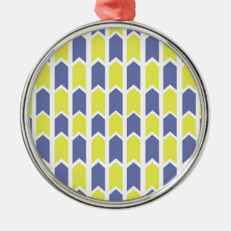 Blue and Yellow Panel Fence Silver-Colored Round Decoration