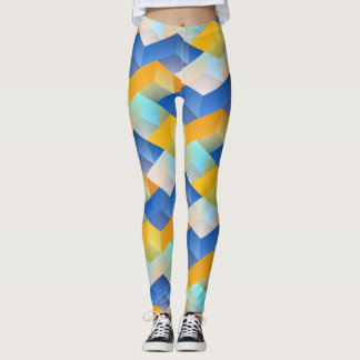 Blue and Yellow Pattern Leggings