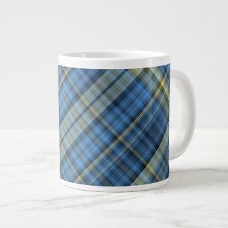 Blue and yellow plaid pattern large coffee mug