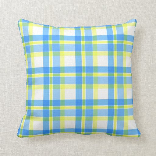 Throw Pillows Yellow And Blue : Blue and yellow plaid pattern Zazzle