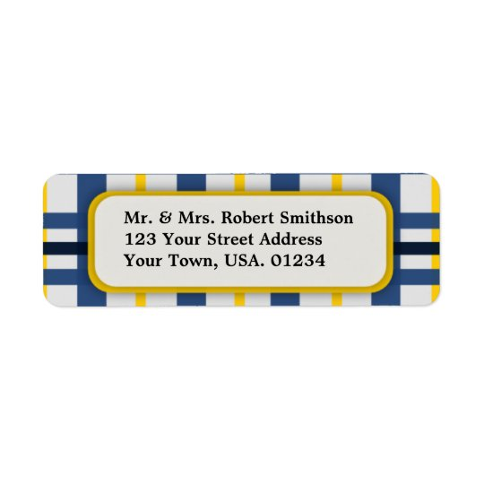 Blue and Yellow Plaid Return Address Labels
