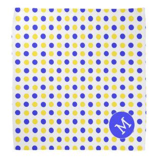 Blue and Yellow Polka Dot Monogrammed Dog Bandana