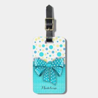 Blue and Yellow Polka Dots, Turquoise Blue Ribbon Bag Tag