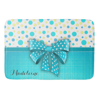 Blue and Yellow Polka Dots, Turquoise Blue Ribbon Bath Mat