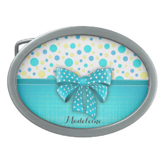 Blue and Yellow Polka Dots, Turquoise Blue Ribbon Belt Buckle