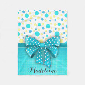 Blue and Yellow Polka Dots, Turquoise Blue Ribbon Fleece Blanket