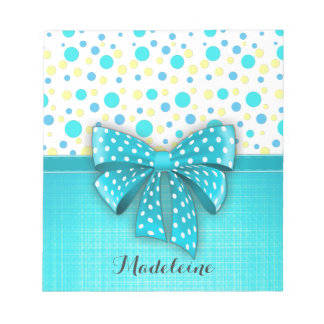 Blue and Yellow Polka Dots, Turquoise Blue Ribbon Notepads