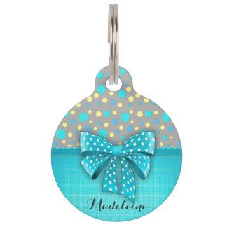 Blue and Yellow Polka Dots, Turquoise Blue Ribbon Pet Tag