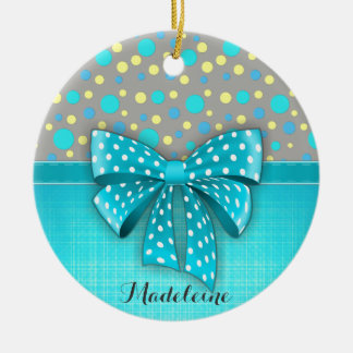 Blue and Yellow Polka Dots, Turquoise Blue Ribbon Round Ceramic Decoration