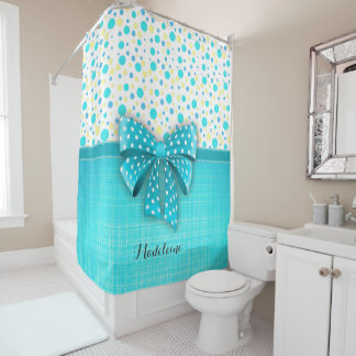 Blue and Yellow Polka Dots, Turquoise Blue Ribbon Shower Curtain