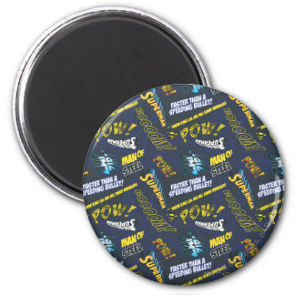 Blue and Yellow Pow! 6 Cm Round Magnet