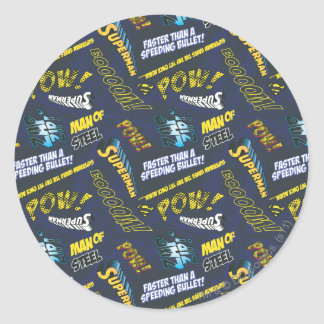 Blue and Yellow Pow! Classic Round Sticker