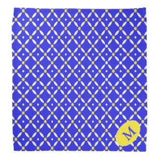 Blue and Yellow Quatrefoil Monogrammed Dog Bandana