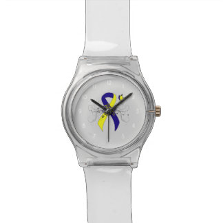 Blue and Yellow Ribbon with Butterfly Watch