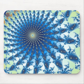 Blue and Yellow Spiral Fractal Art Mouse Pads