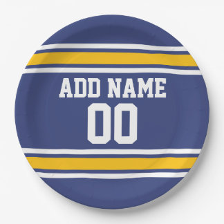 Blue and Yellow Sports Stripes Custom Name Number 9 Inch Paper Plate