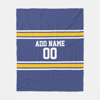 Blue and Yellow Sports Stripes Custom Name Number Fleece Blanket