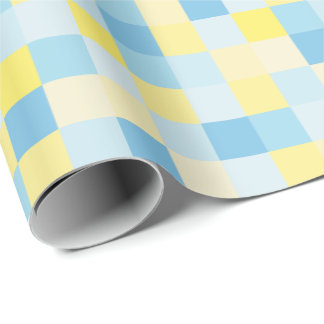 Blue and Yellow Squares Wrapping Paper
