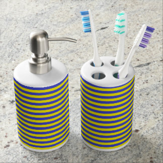 Blue and Yellow Stripes Soap Dispenser And Toothbrush Holder