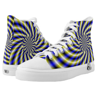 Blue and Yellow Swirl High Tops