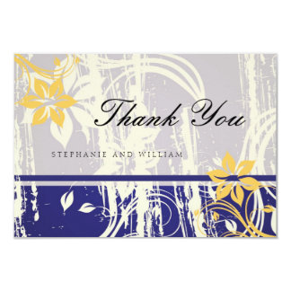 Blue and Yellow Swirl Wedding Thank You Card
