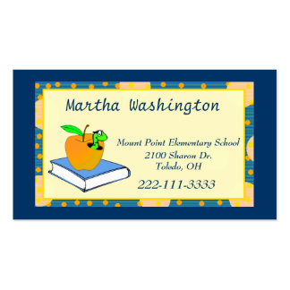 Blue and Yellow Teachers Business Card