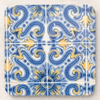 Blue and yellow tile, Portugal Coaster