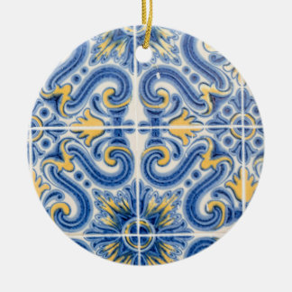 Blue and yellow tile, Portugal Round Ceramic Decoration