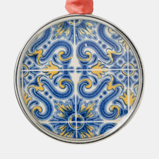 Blue and yellow tile, Portugal Silver-Colored Round Decoration