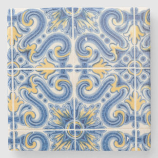 Blue and yellow tile, Portugal Stone Coaster