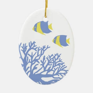 Blue and Yellow Tropical Coral and Angelfish Ceramic Oval Decoration