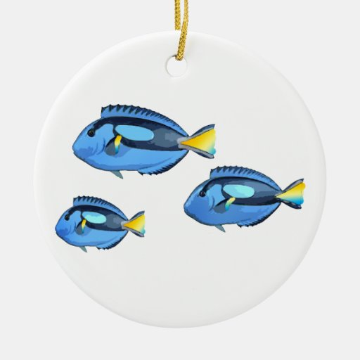 Blue and Yellow Tropical Fish Christmas Ornament