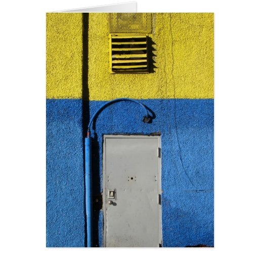 Blue and Yellow Wall Note Greeting Cards