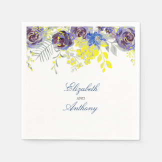 Blue and Yellow Watercolor Flowers Paper Serviettes