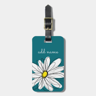 Blue and Yellow Whimsical Daisy Custom Text Luggage Tag