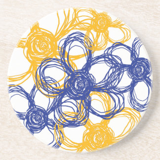Blue and Yellow Wild Flowers Beverage Coaster