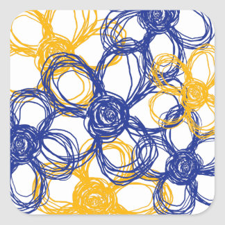 Blue and Yellow Wild Flowers Envelope Seal Square Sticker