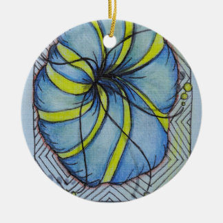 Blue and Yellow Zentangle Blossom Christmas Tree Ornament