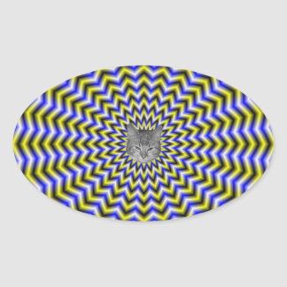 Blue and Yellow Zigzag Ripples Sticker + cat