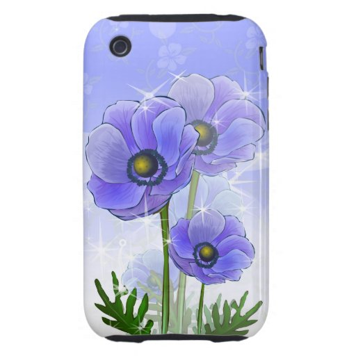 Blue Anemone flowers iPhone 3 Tough Cover