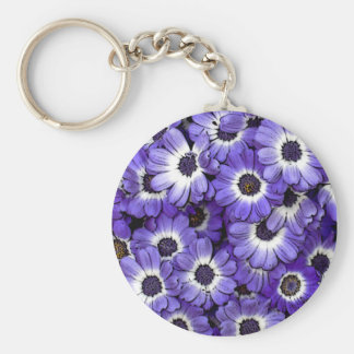Blue Anemones Basic Round Button Key Ring