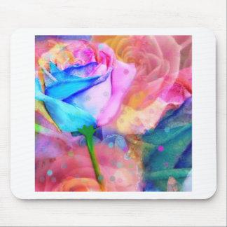 Blue ang pink roses mouse pad
