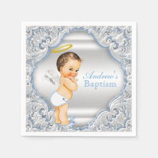 Blue Angel Boy Baptism Paper Napkin