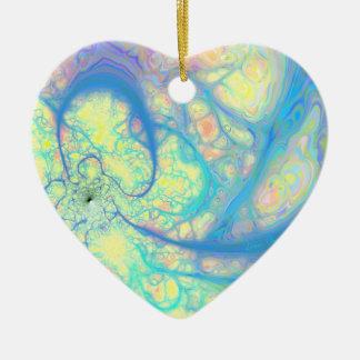 Blue Angel – Cosmic Azure & Lemon Double-Sided Heart Ceramic Christmas Ornament