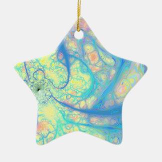 Blue Angel – Cosmic Azure & Lemon Double-Sided Star Ceramic Christmas Ornament