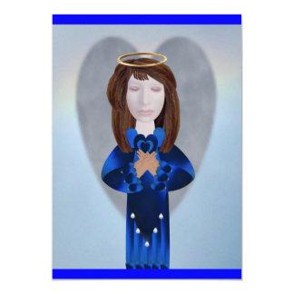 "Blue Angel in Prayer 5"" X 7"" Invitation Card"