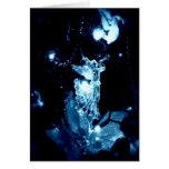 Blue angel on black Christmas card